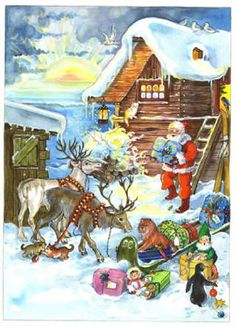 Santa with his Reindeer Advent Calendar Days To Christmas, German Christmas, Xmas, German Advent Calendar, Christmas Calendar, Advent Calander, Christmas Graphics, Shabby Vintage, Great Memories