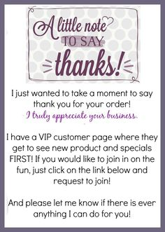 Thank you for your order - VIP Group