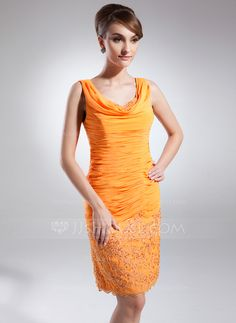 Sheath/Column Cowl Neck Knee-Length Ruffle Appliques Lace Sequins Zipper Up Regular Straps Sleeveless Yes Orange Fall General Plus Chiffon Mother of the Bride Dress