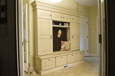Mudroom storage. Great but would want an open bottom with shelf and drip trays for wet shoes