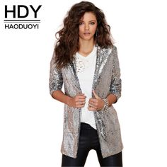 Promotion price HDY Haoduoyi 2017 Autumn Fashion Women Silver Sequined Coats Turn-down Collar Long Sleeve Outwears Cardigan Jackets just only $21.40 with free shipping worldwide  #womanjacketscoats Plese click on picture to see our special price for you