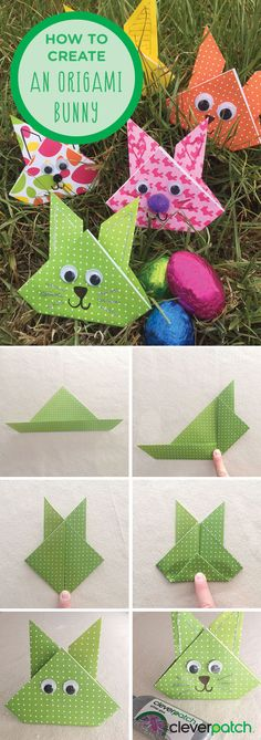 How to create an origami Easter Bunny! Origami is the art of paper folding. Create these super cute bunnies and decorate your Easter cards, bonnets or even use them as table decorations!