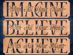 SLDK500 - Set of Imagine Believe & Achieve Word Art
