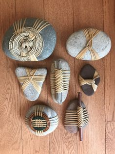 I recently wrapped rocks from our Santa Fe trip. Stone Crafts, Rock Crafts, Diy And Crafts, Crafts For Kids, Arts And Crafts, Creative Crafts, Stone Wrapping, Nature Crafts, Pebble Art