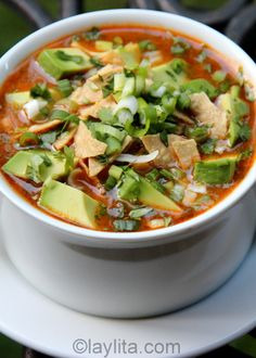 Chicken (or turkey) tortilla soup recipe. Made this for dinner almost completely as written except I grated the garlic, omitted the sugar, and added a tsp of cumin. Pretty tasty for my first go at tortilla soup. Mexican Food Recipes, Soup Recipes, Cooking Recipes, Healthy Recipes, Cooking Tips, Turkey Recipes, Milk Recipes, Healthy Soup, Think Food