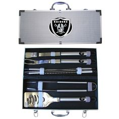 Siskiyou NFL Team Bbq Set with Hard Case -Oakland Raiders, Oakland Raiders Christmas Presents For Him, Team 8, Bbq Set, Raider Nation, Sports Toys, New Orleans Saints, Oakland Raiders, Nfl, Man Cave