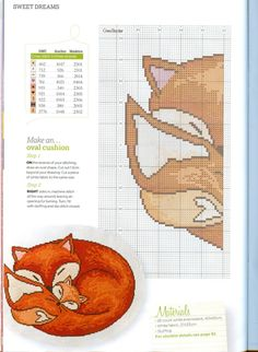 Thrilling Designing Your Own Cross Stitch Embroidery Patterns Ideas. Exhilarating Designing Your Own Cross Stitch Embroidery Patterns Ideas. Cross Stitch Animals, Cross Stitch Kits, Counted Cross Stitch Patterns, Cross Stitch Charts, Cross Stitch Designs, Cross Stitch Embroidery, Fox Pillow, Fox Pattern, Crochet Cross