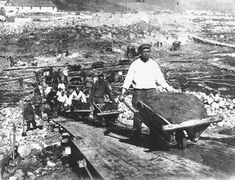 Prisoners work at Belbaltlag, a Gulag camp for building the White Sea-Baltic Sea Canal . From 1932 documentary film, Baltic to White Sea Water Way. Courtesy of Central Russian State Film and Photo Archive.