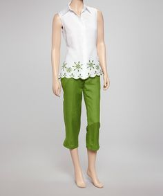 Take a look at this White Sleeveless Top & Green Capri Pants by Joy Mark on #zulily today!