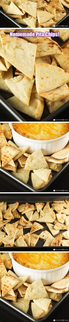 These healthy Homemade PITA CHIPS made from pita bread are perfect for all of your favorite dips from hummus to onion dip! They are BAKED in the oven until toasty and crispy and perfect for dipping!
