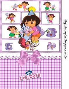 """Kit de Aniversário para personalizar Tema """"Dora, aventureira"""" - Convites Digitais Simples"""