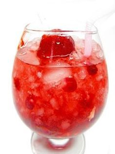 1 bottle of white wine. 3 cans of sprite. 1 bag of frozen strawberries...this sounds like a dream to me