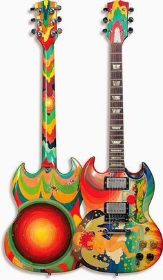 The Fool is a 1964 Gibson SG guitar, painted for Eric Clapton by the Dutch design collective of the same name. One of the world's best-known guitars, it symbolizes the psychedelic era. Clapton used the guitar extensively while playing with Cream Eric Clapton Guitar, Sg Guitar, Music Guitar, Cool Guitar, Guitar Solo, Guitar Picks, Acoustic Guitar, Ukulele, Fender Telecaster