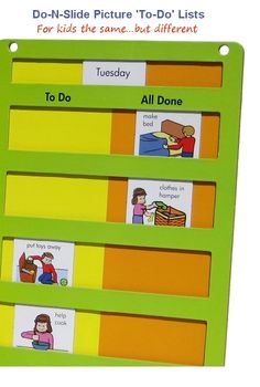 sliding visual schedule Abstract/Verbal: Shows understanding of a symbol or object by using and responding to it appropriately Autism Learning, Visual Learning, Autism Activities, Autism Resources, Classroom Activities, Shape Activities, Autism Classroom, Special Education Classroom, Child Life Specialist