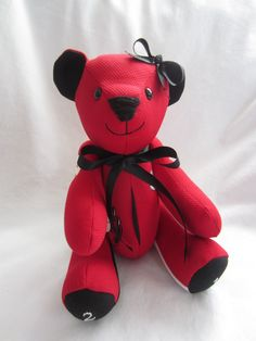 Keepsake Bear. This bear was made for a young lady out of her softball jersey. It was personalized (free) and given to her mom on Mother's Day. A keepsake to treasure always. www.bearsbylauren.com