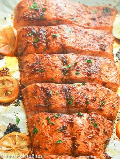 Jamaican Jerk Salmon - Immaculate Bites - Oven Baked Salmon You are in the right place about recipes videos Here we offer you the most beauti - Oven Baked Salmon, Baked Salmon Recipes, Fish Recipes, Seafood Recipes, Dinner Recipes, Cooking Recipes, Healthy Recipes, Glazed Salmon, Healthy Eats