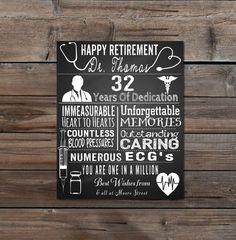 Retirement- Leaving -Doctor- Nurse- Personalised- typography- chalkboard -wall art - home decor -personalised men- DIY Printable