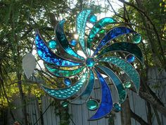 Twirly Gig  In Pretty Blues by PaneintheGlassGifts on Etsy, $48.00