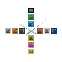 Wall clock DIY  photo frame 12 multi-hued square frames can be placed any way you like