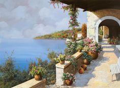 ღღ  La Terrazza Painting - La Terrazza Fine Art Print - Guido Borelli