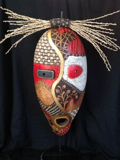 """Cathy Norosky, """"The Devil's in the Details"""", gourd mask. Cathy says, """"my inspiration comes from basic nature shapes and forms.  My artwork represents an exuberance of colors, optimism and the joy that I get from the simple abundance that life offers. My style has an  abstract and  impressionistic flair.  Whimsey makes an occasional appearance, as some of my work includes anything with fur, feathers or scales."""""""