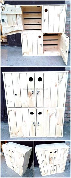See an outstanding creatively designed recycled wood pallets storage console, there are no handles attached to it and the hole is for opening the door of the console. The console is designed uniquely from the back side as well. The console can be locked as well if there are expensive items stored in it.