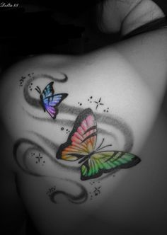 I will have to use this design for my next tattoo, but w/ dragonflies instead of butterflies. Love the colors!