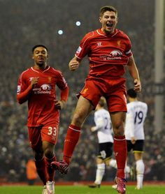Stevie G with the pen LFC 3 Spurs 2