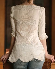 Old Tablecloth into a Jacket/Shirt;  I ABSOLUTELY LOVE THIS!!  I love lace and 'old' world looks! This would be soooo comfy and a great way to repurpose an old tablecloths!
