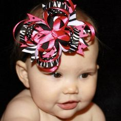 Hot Pink and Zebra Hair Bow
