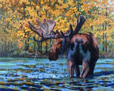 The Fisherman's Tale Huge moose painting  by Erica Neumann