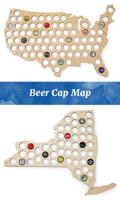 This USA-shaped, plywood display offers a decorative way to showcase a bottle cap collection.