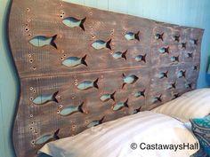 Escuela de madera de pescado arte cabecera King tamaño muestra