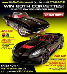 LAST CHANCE! The Corvette Dream Giveaway ends 12/28/2016! Get DOUBLE TICKETS now with promo code: TP1216C at www.winthevettes.com.