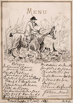 Interesting 1881 Pen and Ink Drawing Fox Hunting Illustration on Supper Menu | eBay