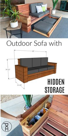 Outdoor Sofa with Hidden Storage Build your own wood outdoor sofa couch with hidden cushion a. Outdoor Furniture Plans, Building Furniture, Deck Furniture, Diy Furniture Projects, Diy Wood Projects, Rustic Furniture, Outdoor Wood Projects, Pallet Furniture Designs, Outside Furniture