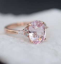 Rose gold engagement ring - Blush sapphire engagement ring Light peach pink sapphire 3 oval diamond ring Rose gold Campari Engagement ring by Eidelprecious – Rose gold engagement ring Wedding Rings Rose Gold, Wedding Rings Vintage, Vintage Engagement Rings, Bridal Rings, Wedding Jewelry, Gold Wedding, Gold Jewelry, Wedding Bands, Emerald Jewelry