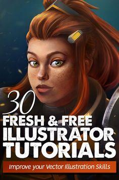 Illustrator Tutorials: 30 Fresh New Vector Illustration Tutorials #besttutorials #digitalillustration #illustratortutorials #vectorgraphics #vectortutorials