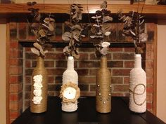 Burlap and lace twine covered LOVE wine bottles