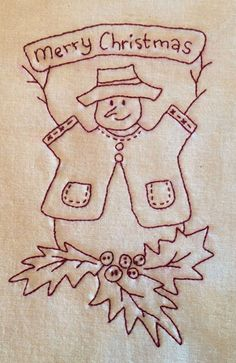 Vintage Embroidery Patterns Christmas Redwork Embroidery Pattern is Free--Free quilt patterns, applique also -