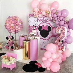 2nd Birthday Party For Girl, Minnie Mouse Party Decorations, Minnie Mouse Birthday Decorations, Mickey Mouse Clubhouse Birthday, Girl Birthday Themes, Kids Party Decorations, Mickey Mouse Birthday, Minnie Mouse Cake Design, Mini E