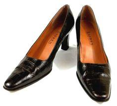 Lauren Ralph Lauren Brown Leather Croc Embossed Pumps Heels Shoes Womens 7.5 B #LaurenRalphLauren #PumpsClassics