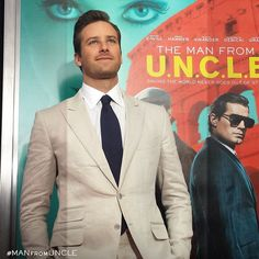 Armie Hammer sheds his KGB costume and suits up at the NYC premiere.   The Man from U.N.C.L.E.