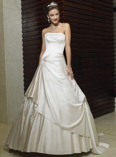 Applique Ball Gown Strapless Side Draped Satin Informal Wedding Dress