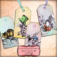 Alice Vintage Tags Set 11, Alice in Wonderland Tags, SALE ITEM, labels, perfect for parties, presents and invitations.
