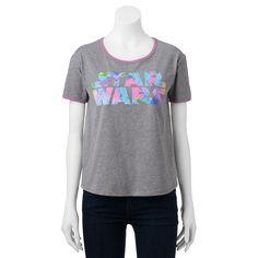 Juniors' Star Wars Tie-Dye Logo Graphic Tee, Girl's, Size: Medium, Grey