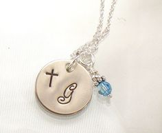 Monogrammed Cross Necklace  Hand Stamped by dlnexpressionjewelry, $26.00