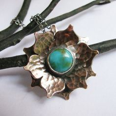 Lotus Necklace Turquoise Necklace Sterling Silver And by Mocahete