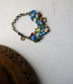 Multi Strand Bracelet with Glass beads and by EarlyMorningProjects, Handmade Jewelry, Unique Jewelry, Handmade Gifts, Strand Bracelet, Turquoise Bracelet, Glass Beads, Trending Outfits, Bracelets, Etsy