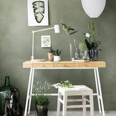 Sage green walls with desk and chair Ikea Workspace, Ikea Office, Ikea Wood Desk, Office Decor, Office Ideas, Room Inspiration, Interior Inspiration, Workspace Inspiration, Home Office Design